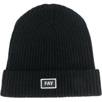 Fay Kids Teen Logo Embroidered Beanie Hat - Preto