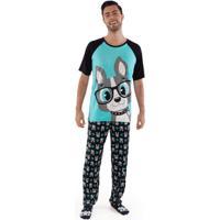 Pijama Manga Curta Visco Bulldog Adulto Pp