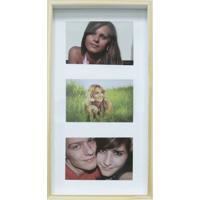 Quadro Para Fotos Wood Natural E Branco 20X40Cm