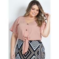 Camisa Plus Size Cropped Rosê Com Amarração