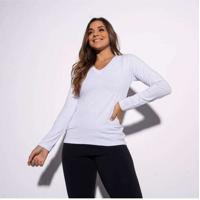Blusa Branca Gola V Lisa Bl336 Branco