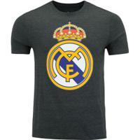 Camiseta Real Madrid Brasão - Masculina - Cinza Esc Mescla
