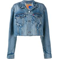 Ji Oh Jaqueta Jeans Cropped - Azul
