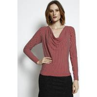 Blusa Listrada Canelada- Vermelha & Branca- Tritontriton