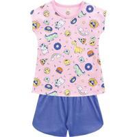 Pijama Dinossauros- Rosa Claro & Azul- Kids- Brabrandili