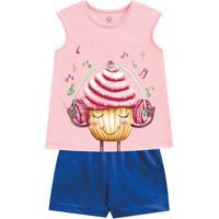 Pijama Cupcake- Rosa Claro & Azul Escuro- Primeiros Brandili