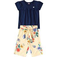Conjunto De Blusa Com Bordado + Calça Pantacourt Floral-Brandili