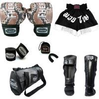 Kit Muay Thai Top - Luva + Bandagem + Bucal + Caneleira + Bolsa + Shorts - 14 Oz Cobra 1