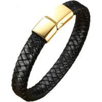 Pulseira Bracelete Em Couro Artestore -Gold Fecho Aço Feminino - Feminino