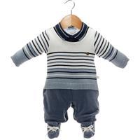 Macacão Longo Beth Bebê Tricô E Plush Heitor Azul Jeans