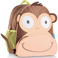Mochila Escolar Infantil Multikids Little Buddys Macaco Caco - Unissex-Marrom