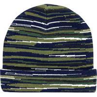 Gorro Em Tricã´ Listrada- Azul Marinho & Verde- Pucpuc