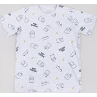 Camiseta Juvenil Bart Simpson Estampada Manga Curta Cinza Mescla Claro