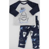 Pijama De Fleece Infantil Tubarão Manga Longa Azul Marinho