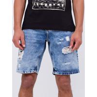 Bermuda Slim Em Jeans Com Puídos