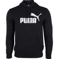 Blusão De Moletom Com Capuz Puma Ess Hoody Fl Big Logo - Masculino - Preto