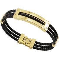 Bracelete Tudo Jóias De Aço Inox Cabo Náutico Black - Unissex-Preto+Dourado