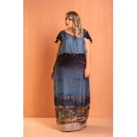 Vestido Longo Floresta Azul Plus Size