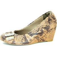 Sapato Malu Super Comfort Anabela Piton