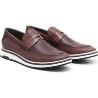 Sapato Casual Couro Sun West Conforto Masculino - Masculino-Marrom