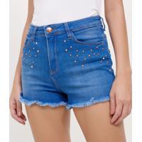 Short Hot Pants Jeans Com Tachas