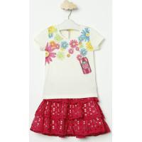 Conjunto De Blusa Floral + Saia Evasãª- Off White & Rosa