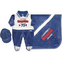 Saída Maternidade Soninho Infantil Plush Competition 3 Pçs Azul
