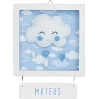 Porta Maternidade Chuva Amor Nuvem Azul Bebê Enfeite Nome Potinho De Mel - Kanui