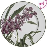 Conjunto De Pratos Rasos Flat Floral- Verde Militar & Roscalla Cerâmica