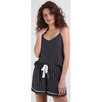 Regata De Pijama Feminina Listrada Alças Finas Preta