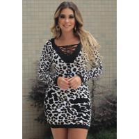 Vestido Curto Tricot Decote Trançado Animal Print