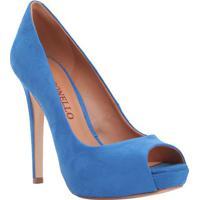 Peep Toe Meia Pata Aveludado- Azul- Salto: 12Cmcecconello