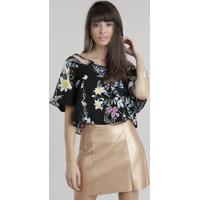 Blusa Cropped Estampada Floral Preta