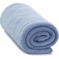 Cobertor Microfibra Liso Queen Azul Camesa