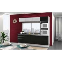 Cozinha Modulada Completa 6 Módulos 100% Mdf Branco/Ébano - Glamy