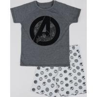 Pijama Infantil Os Vingadores Estampado Manga Curta Cinza Mescla Escuro