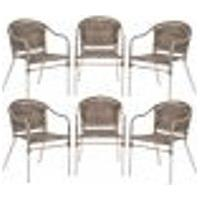 Cadeiras 6Un Para Area Varanda Fibra Sintetica Sala Cozinha Jardim Sacada Floripa - Argila