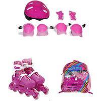Patins Infantil 4 Rodas In-Line Urbano Roller Rosa Com Estrelas 32-35 Bbr