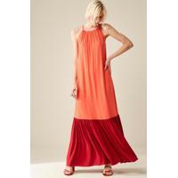 Vestido Bicolor De Viscose Laranja