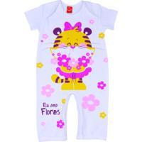 Macacão Baby Get Baby Flores Rosa
