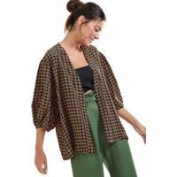 Kimono De Seda Estampado Est Pois Textura Preto