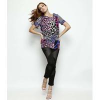 Blusa Em Seda Com Torção - Rosa & Preta - Versaceversace