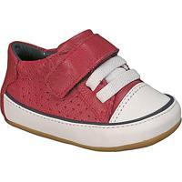 Tênis Em Couro Com Velcro- Vermelho Escuro & Brancokimey