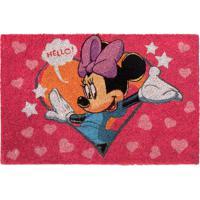 "Capacho Minnie® ""Hello""- Pink & Azul- 1,5X61X41Cm"