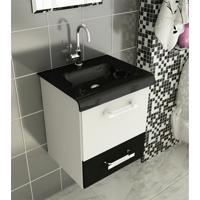 Kit Completo Para Banheiro 40 Cm Com 3 Peças Vetro 13 Branco E Preto Tomdo
