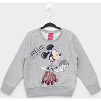 Moletom Infantil Cativa Disney Minnie Roller Feminina - Feminino-Mescla
