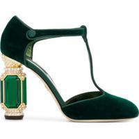 Dolce & Gabbana Sapato De Veludo Com Detalhe De Cristais - Verde