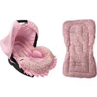 Conjunto Capa Para Bebê Conforto Com Acolchoado Extra E Capa De Carrinho Girafa Alan Pierre Baby 0 A 13 Kg Rosa