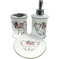 Jogo Para Banheiro Paris- Branco & Rosa- 3Pçs- Uurban