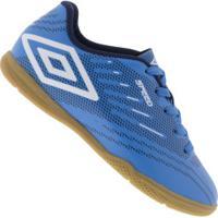 Chuteira Futsal Umbro Speed Iv Ic - Infantil - Azul/Branco